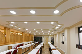 Concealed lighting in plaster mouldings at Snyagogue in Manchester