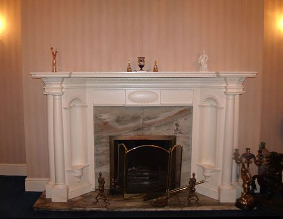 plaster surrounds and marble backs and hearths from