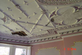 Before photo of restoration to a Jacobean Ceilling in West Yorkshire
